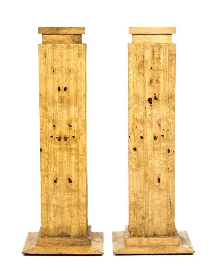 2013: A Pair of Art Deco Style Burlwood Columns, Height