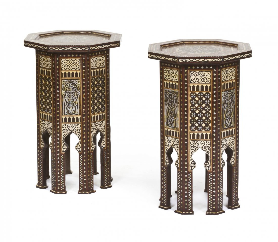 2018: A Pair of Moorish Mother-of-Pearl Inset Tables, H