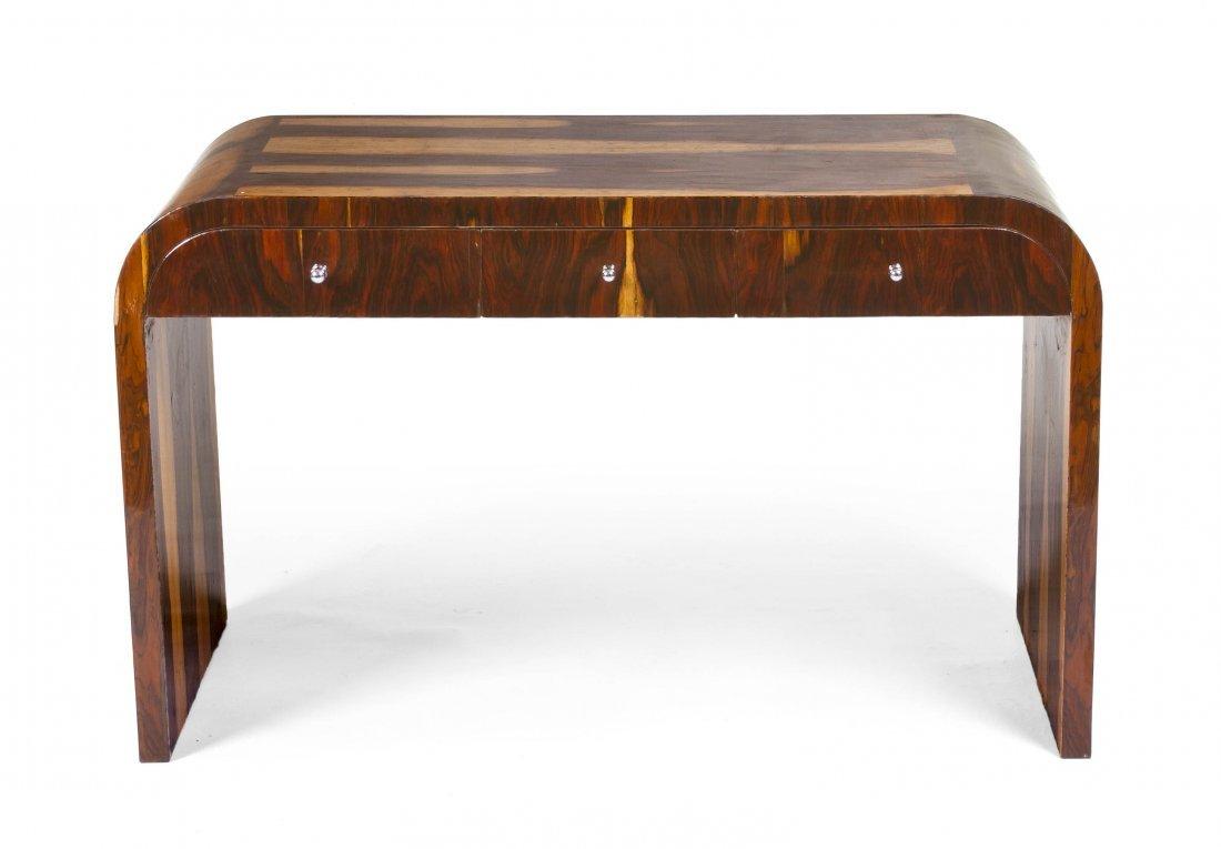 2021: An Art Deco Style Various Woods Desk, Height 29 5