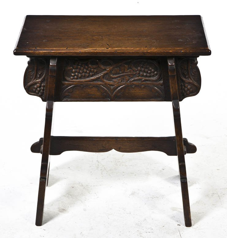 2099: An Arts and Crafts Carved Oak Stool, Height 21 x