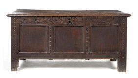 A Continental Carved Oak Trunk, Height 21 X Width