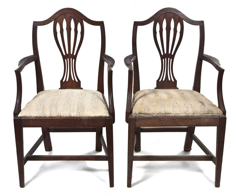 2107: A Pair of Sheraton Style Mahogany Open Armchairs,