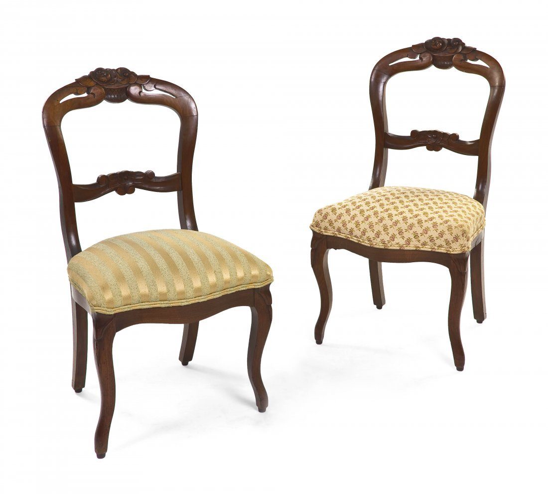 2110: A Pair of Victorian Balloon Back Side Chairs, Hei