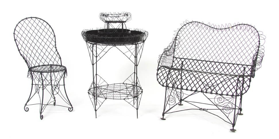 2111: A Group of Wire Garden Furniture, Width of widest