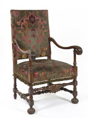 A Henry II Style Open Armchair, Height 43 1/2 Inc
