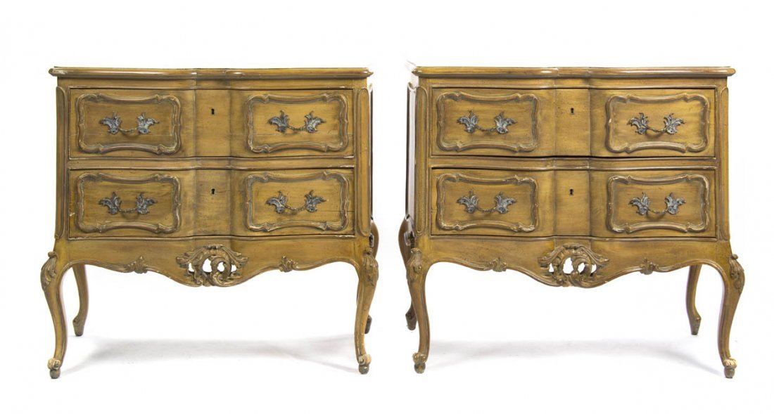 2124: A Pair of Louis XV Provincial Style Painted Commo