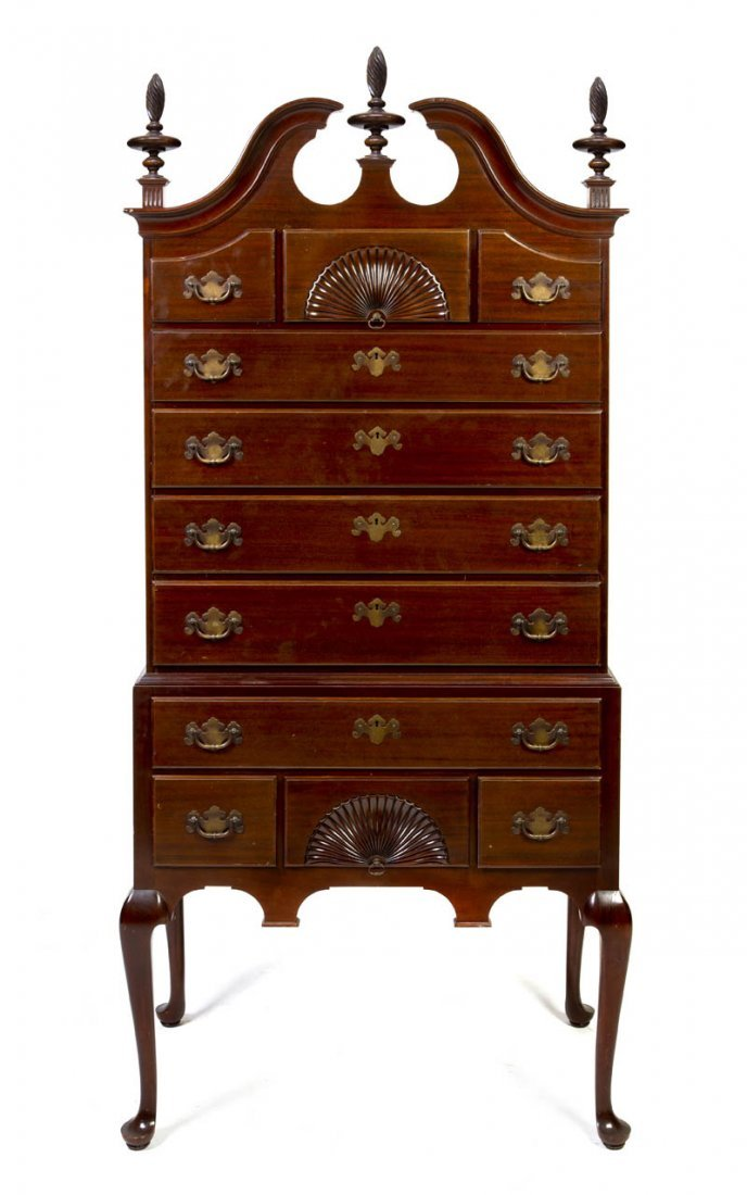 2132: A Mahogany Chippendale Style High Chest of Drawer