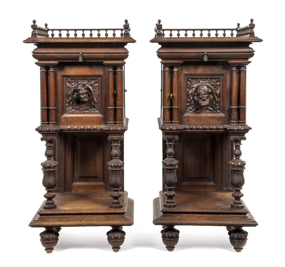 2133: A Pair of Walnut Humidors on Stands, Height 37 1/