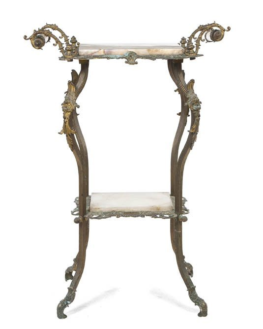 2134: A Victorian Onyx and Bronze Stand, Height 33 x wi