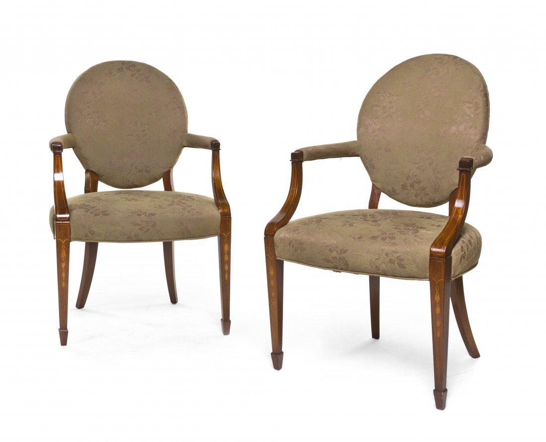 2137: A Pair of Georgian Style Open Arm Chairs, Height