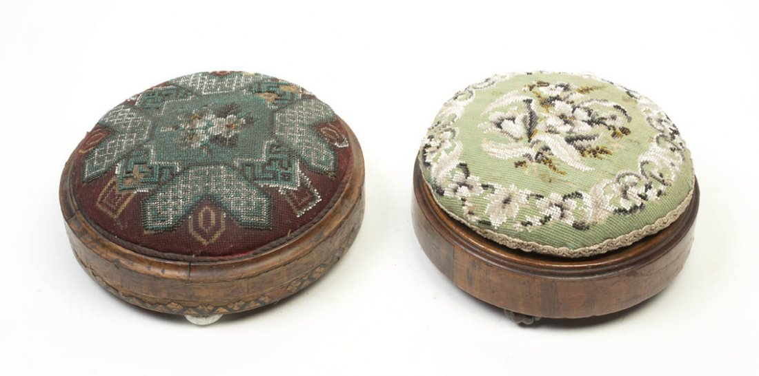 2140: Two Victorian Needlepoint Footstools, Diameter of
