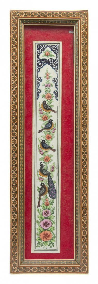 2144: A Middle Eastern Painted Panel, 15 3/4 x 2 1/8 in