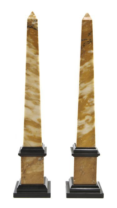 2146: A Pair of Sienna Marble Obelisks, Height 15 1/4 i