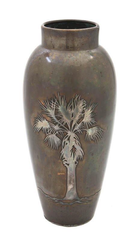 2549: A Heintz Silver Bronze Vase, Height 11 1/4 inches