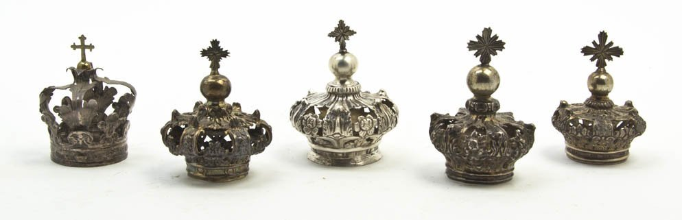 2550: Five Continental Diminutive Silverplate Crowns, H