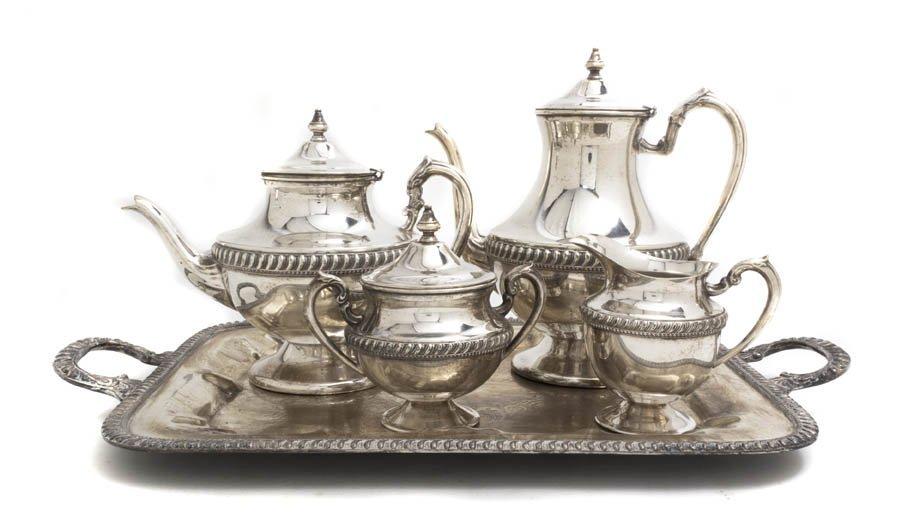 2555: A Five Piece Silverplate Tea and Coffee Service,