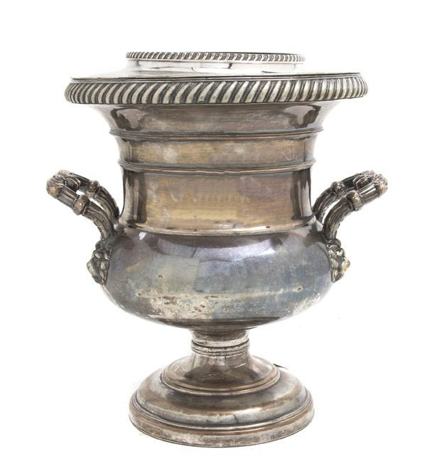 2559: A Silverplate Ice Bucket, Height 11 1/2 inches.
