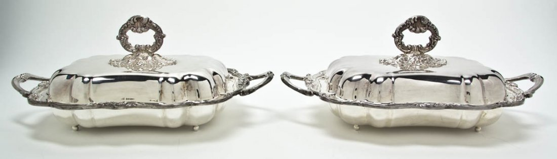 2565: Two Silverplate Chafing Dishes, Length of warming