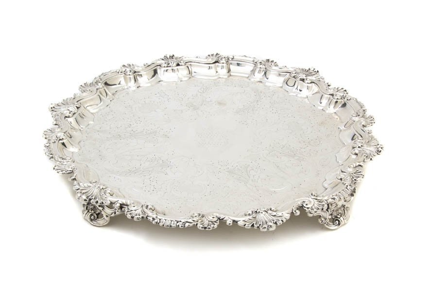2567: An English Silverplate Footed Salver, Diameter 18
