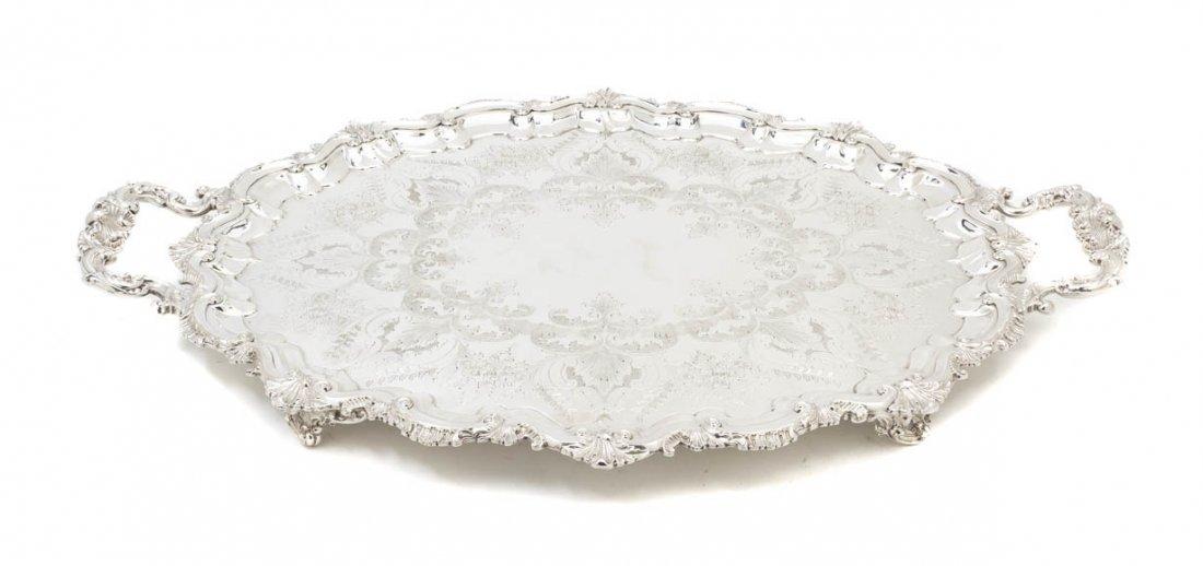 2568: An English Silverplate Serving Platter, Width ove