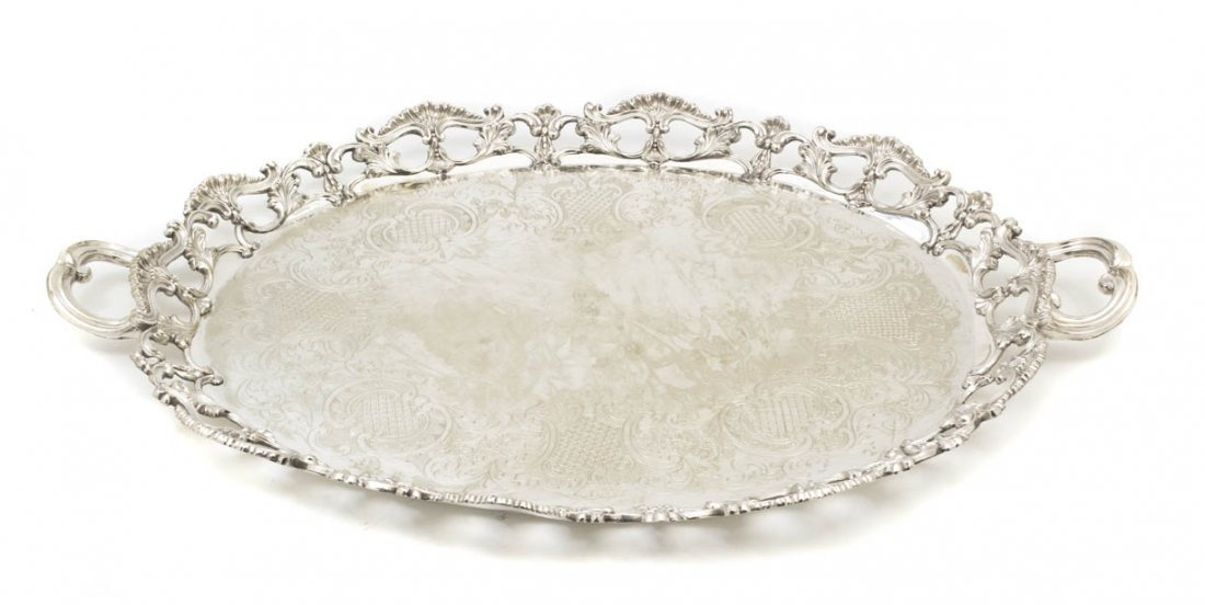 2569: An English Silverplate Tray, Length 29 5/8 inches