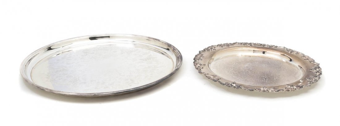 2572: Two Silverplate Trays, Diameter of larger 17 1/4