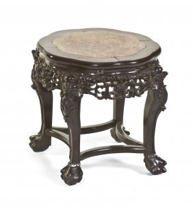 A Chinese Carved Hardwood Stool, Height 18 X Diam