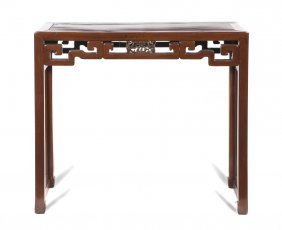 A Chinese Wood Altar Table, Height 33 X Width 39
