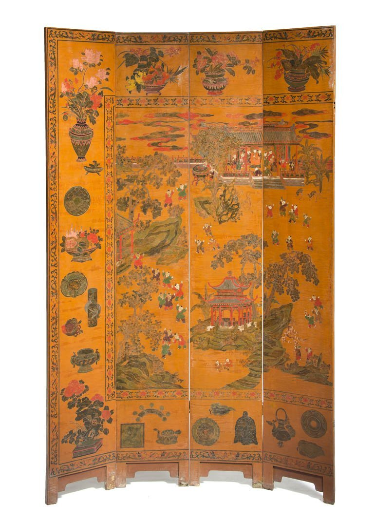 2599: A Set of Four Chinese Floor Screen Panels, Height