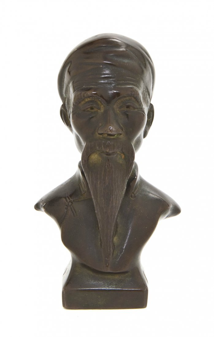 2601: A Chinese Bronze Bust, Height 4 inches.