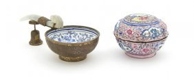 A Group Of Two Canton Enameled Vessels, Width Of