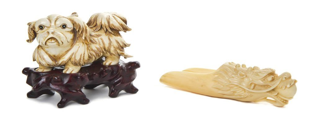 2605: A Group of Two Ivory Articles, Width of Shih Tzu