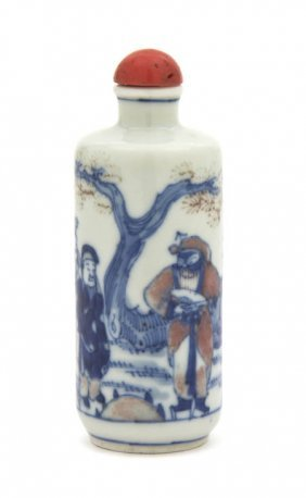 A Porcelain Snuff Bottle, Height 3 3/4 Inches.