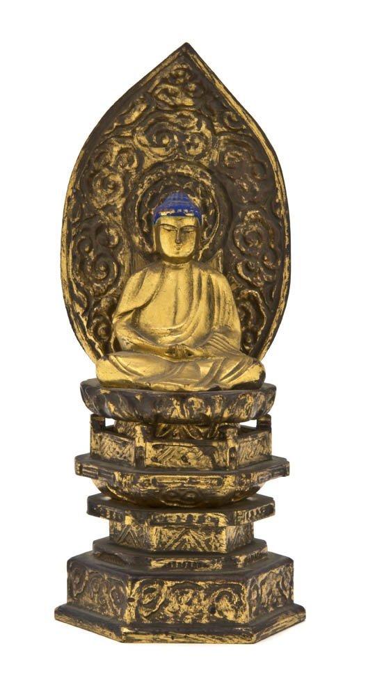2609: A Japanese Giltwood Figure of Buddha, Height 8 1/