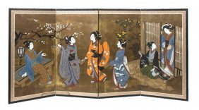 A Japanese Painted Paper Four-Panel Screen, Heigh