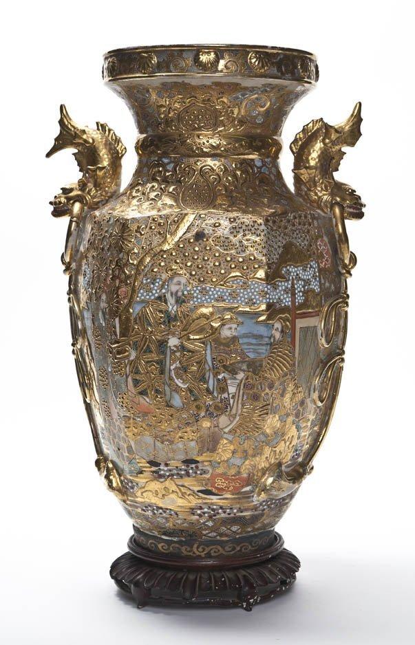 2612: A Japanese Satsuma Vase on Stand, Height 18 7/8 i