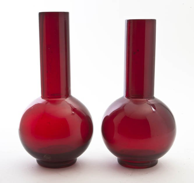 2614: A Near Pair of Chinese Peking Glass Vases, Height