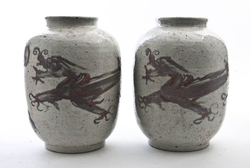 2615: A Pair of Chinese Porcelain Vases, Height 11 3/4