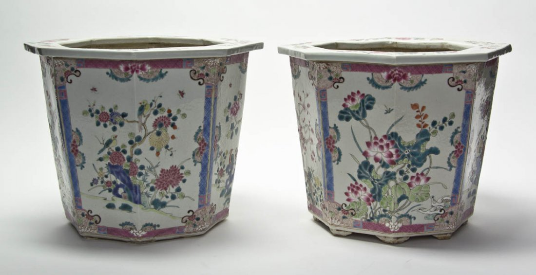 2616: A Pair of Chinese Famille Rose Porcelain Jardinie
