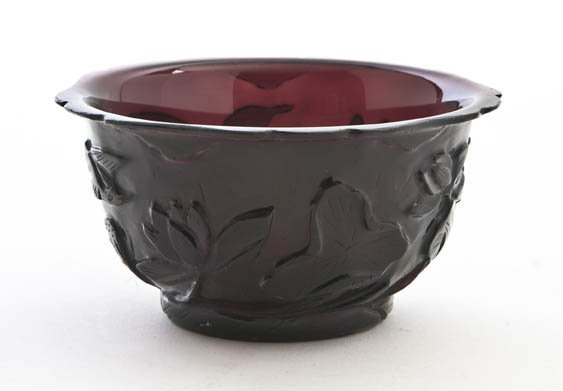 2618: A Chinese Carved Peking Glass Bowl, Height 2 3/8