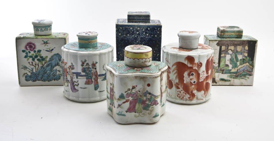 2619: A Group of Six Chinese Porcelain Tea Caddies, Hei