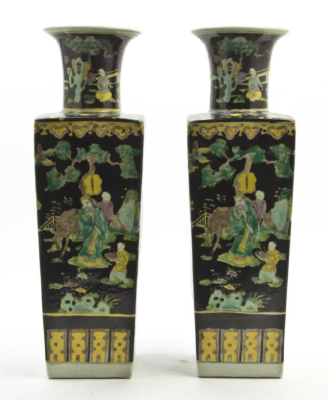2620: A Pair of Chinese Porcelain Famille Noir Baluster