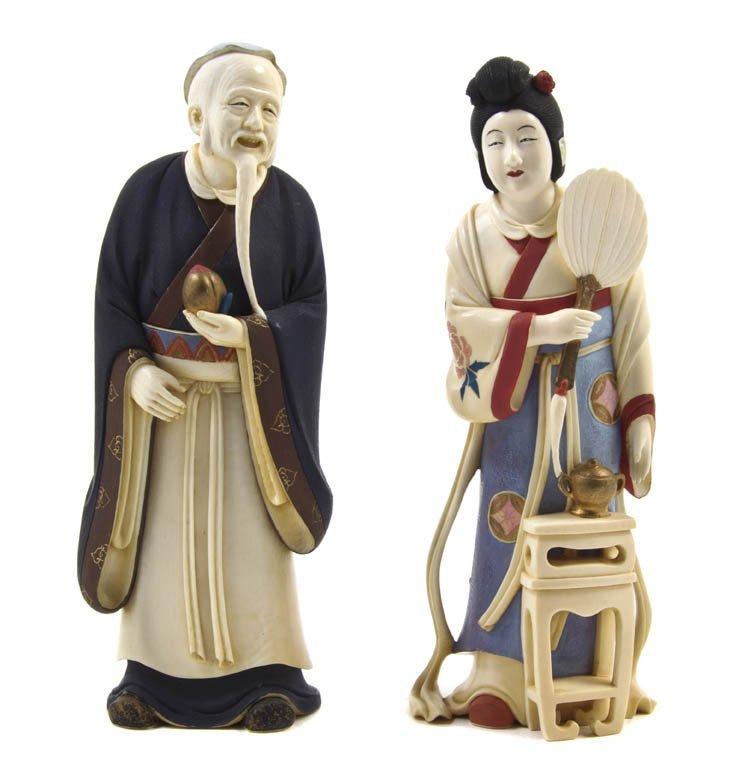 2649: Two Japanese Ivory Okimono, Height of tallest 7 i