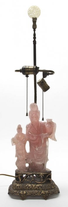 A Chinese Rose Quartz Carving Of A Woman, Height