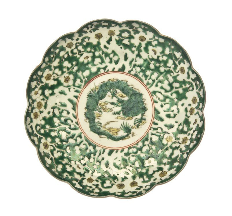 2719: A Chinese Famille Verte Dish, Diameter 9 1/4 inch