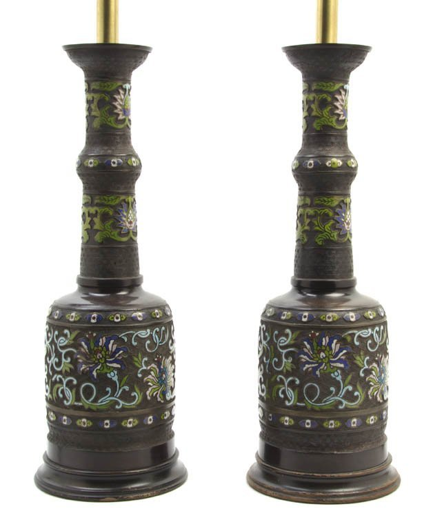 2721: A Pair of Enameled Bronze Vases, Height of vases