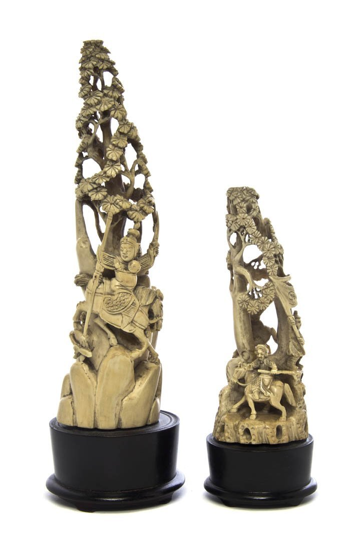 2722: Two Pierce Carved Ivory Figures, Height of talles