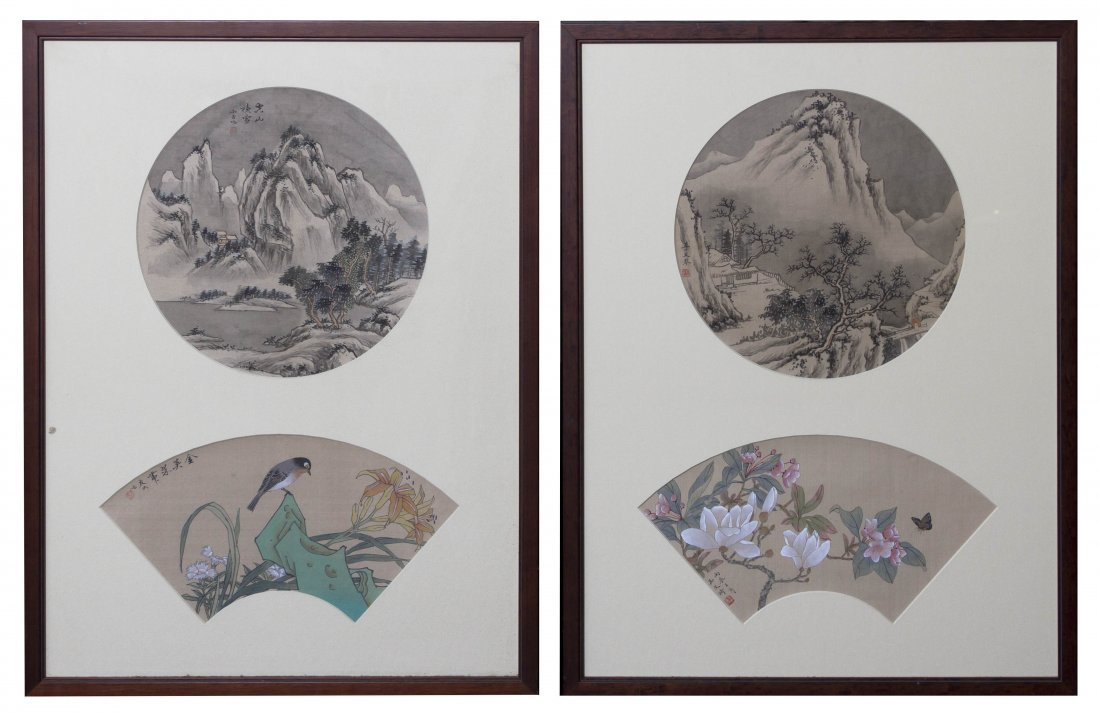 2723: A Set of Four Chinese Paintings on Silk, Height o