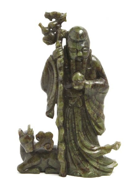 2724: A Spinach Jade Carving of Shoulao, Height 9 1/8 i