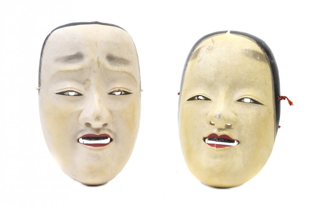 2725: Two Japanese Noh Theater Masks, Height of tallest